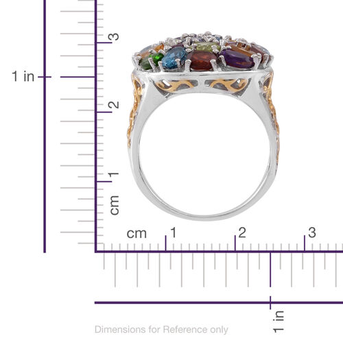 Sky Blue Topaz (Cush), Mozambique Garnet, Hebei Peridot, Amethyst Rhodolite Garnet and Multi Gem Stone Cluster Ring in Rhodium Plated Sterling Silver 6.000 Ct.