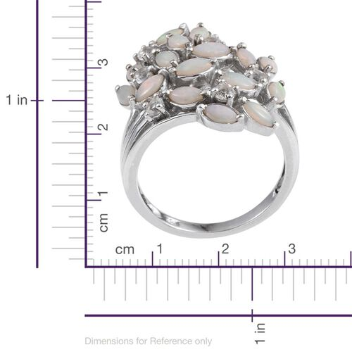 Australian White Opal (Rnd), White Topaz Leaves Ring in Platinum Overlay Sterling Silver 1.750 Ct.
