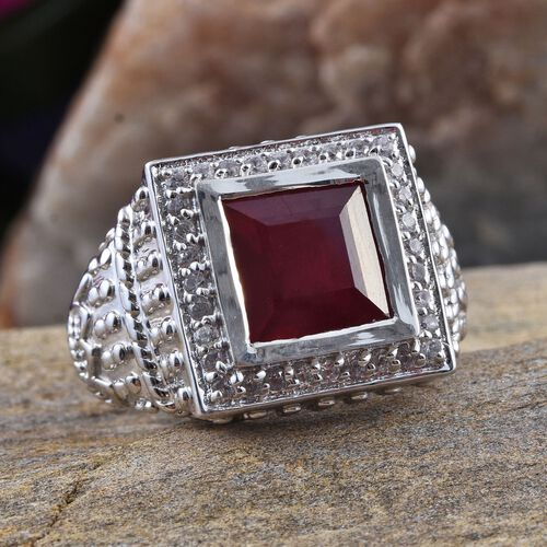 African Ruby (Sqr 7.25 Ct), Burmese Ruby and Natural Cambodian Zircon Ring in Platinum Overlay Sterling Silver 8.000 Ct.