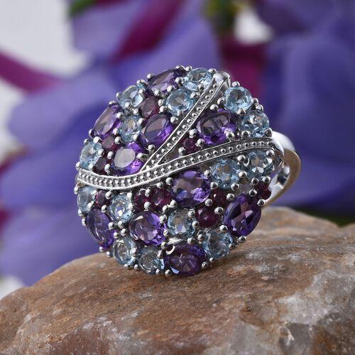 GP Amethyst (Ovl), Sky Blue Topaz, Rhodolite Garnet and Kanchanaburi Blue Sapphire Ring in Platinum Overlay Sterling Silver 7.000 Ct.