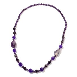 Amethyst and Simulated Purple Sapphire Necklace (Size 28)