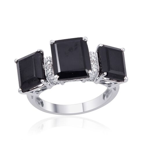 Boi Ploi Black Spinel (Oct 6.25 Ct), Diamond Ring in Platinum Overlay Sterling Silver 13.260 Ct.
