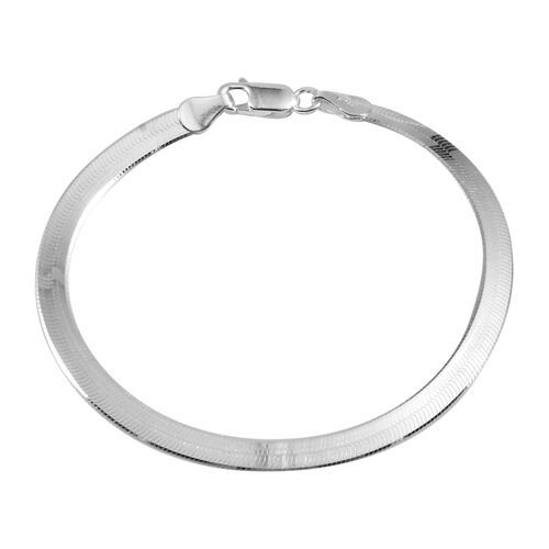 Close Out Deal Sterling Silver Flatened Snake Chain Bracelet (Size 7), Silver wt 4.70 Gms.