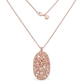 RACHEL GALLEY Rose Gold Overlay Sterling Silver Charmed Pebble Necklace (Size 30), Silver wt 28.66 Gms.