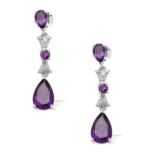 Zambian Amethyst (Pear), Diamond Earrings in Platinum Overlay Sterling Silver 3.500 Ct.