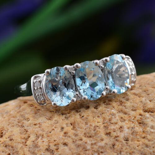 14K W Gold Espirito Santo Aquamarine (Ovl), Diamond Ring 2.050 Ct.