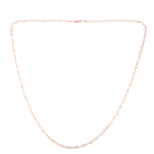 Close Out Deal Rose Gold Overlay Sterling Silver Diamond Cut Link Chain (Size 24), Silver wt 3.50 Gms.