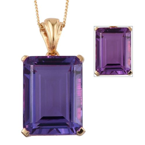 Lavender Alexite (Oct) Pendant With Chain in 14K Gold Overlay Sterling Silver 11.500 Ct.