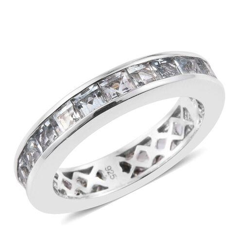 Aquamarine 3 Carat Silver Full Eternity Band Ring in Platinum Overlay
