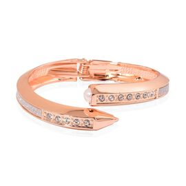 Designer Inspired AAA White Austrian Crystal and Simulated Pearl Nail Bangle (Size 7) in Rose Gold Tone