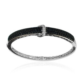 Boi Ploi Black Spinel (Rnd), White Topaz Buckle Bangle (Size 7) in Rhodium Plated Sterling Silver 5.010 Ct.