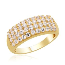 J Francis- 14K Gold Overlay Sterling Silver (Rnd) Ring Made with SWAROVSKI ZIRCONIA 1.320 Ct.