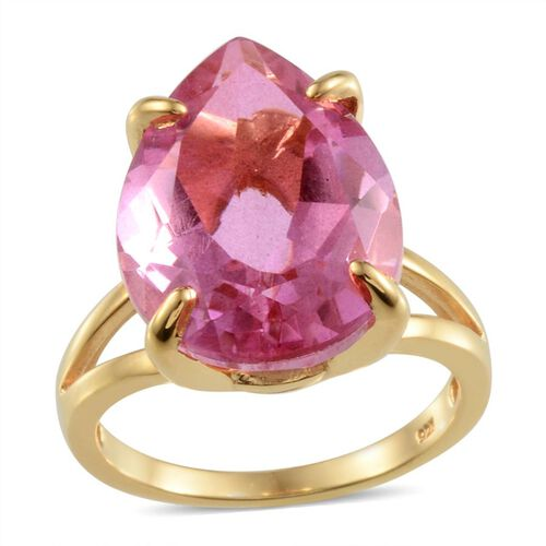 Kunzite Colour Quartz (Pear) Solitaire Ring in 14K Gold Overlay Sterling Silver 18.250 Ct.