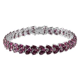 Orissa Rhodolite Garnet (Pear) Bracelet (Size 8) in Platinum Overlay Sterling Silver 21.000 Ct.