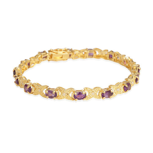 Lusaka Amethyst (Ovl), Diamond Bracelet (Size 7.75) in Gold Bond 6.600 Ct.