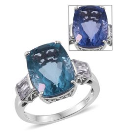 Colour Change Fluorite (Cush 11.85 Ct), White Topaz Ring in Platinum Overlay Sterling Silver 13.000 Ct.