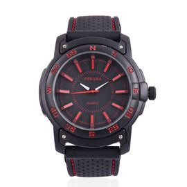 STRADA Japanese Movement Black Colour with Red Marks Dial Water Resistant Watch in Silver Tone with Stainless Steel Back and Black Colour Rubber Strap with Red Line