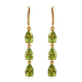 AAA Hebei Peridot (Pear) Lever Back Earrings in 14K Gold Overlay Sterling Silver 8.000 Ct.