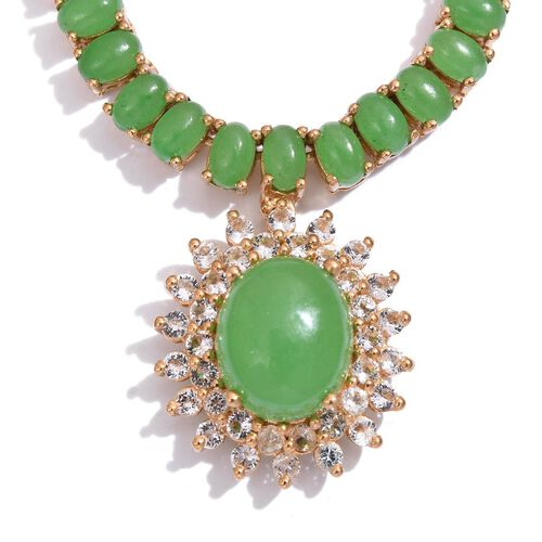 Green Jade (Ovl 6.25 Ct), White Topaz Necklace (Size 18) in 14K Gold Overlay Sterling Silver 27.000 Ct.