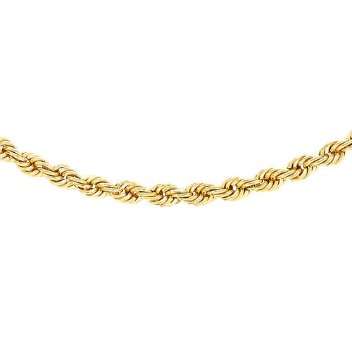JCK Vegas Collection 9K Yellow Gold Diamond Cut Rope Chain Necklace Size 20 Inch, 6.50 Gms.