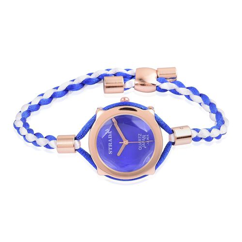 STRADA Japanese Movement Blue Dial Water Resistant Adjustable Bracelet Watch in Rose Gold Tone with Stainless Steel Back and Lace  Strap