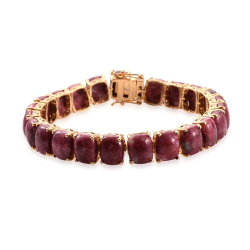 Norwegian Thulite (Cush) Tennis Bracelet (Size 7.5) in 14K Gold Overlay Sterling Silver 75.000 Ct.