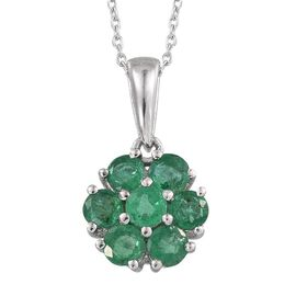 Kagem Zambian Emerald (Rnd) 7 Stone Floral Pendant With Chain in Platinum Overlay Sterling Silver 1.250 Ct.