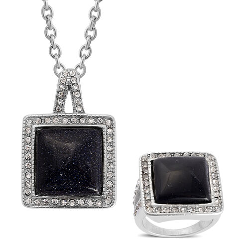 Blue Goldstone and White Austrian Crystal Ring and Pendant With Chain (Size 20) in Stainless Steel