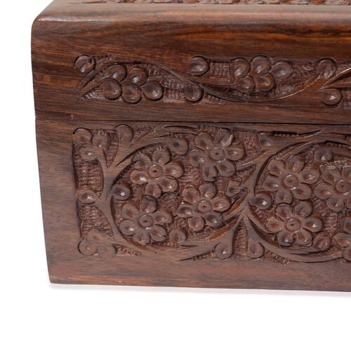 Brass Inlay Indian Rosewood Elephant and Leaves Carved 2 Tier Jewellery Box (Size 10x6x3.75 inch)