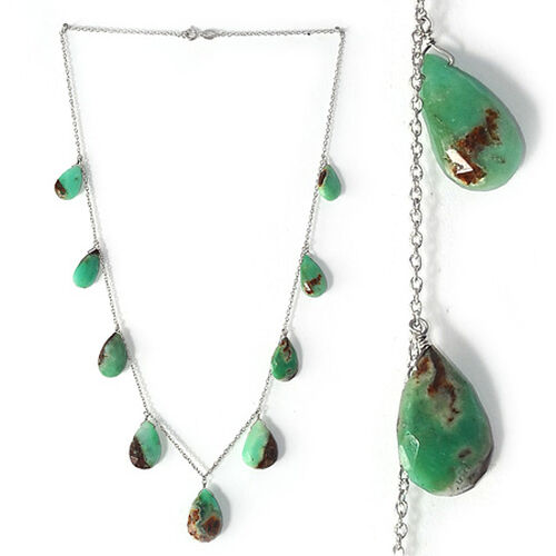 Bio Chrysoprase Necklace (Size 18) in Platinum Overlay Sterling Silver 50.630 Ct.
