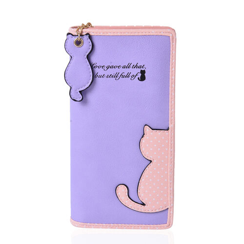 Lilac & Pink Colour Cat Charm Wallet (Size 19x9x3 Cm)