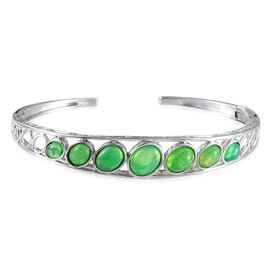 Green Ethiopian Opal (Ovl 1.25 Ct) Cuff Bangle in Platinum Overlay Sterling Silver (Size 7.5) 5.150 Ct.
