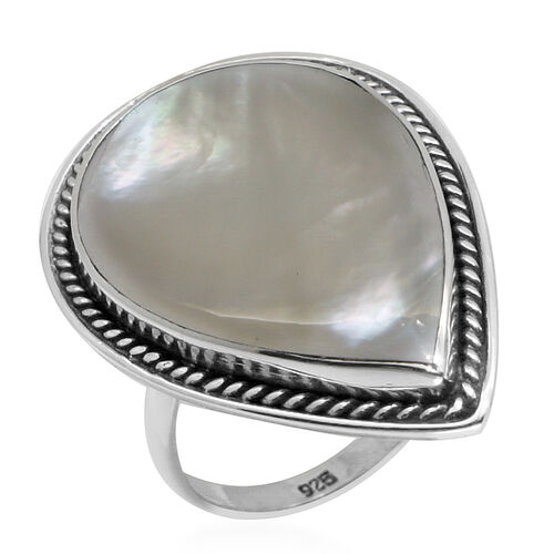 Royal Bali Collection Mother of Pearl (Pear) Ring in Sterling Silver
