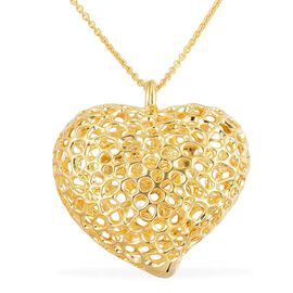 RACHEL GALLEY Yellow Gold Overlay Sterling Silver Amore Heart Lattice Necklace (Size 30), Silver wt 32.92 Gms.