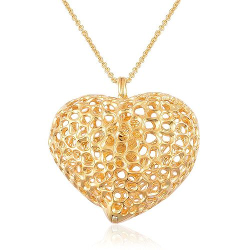 RACHEL GALLEY Yellow Gold Overlay Sterling Silver Amore Heart Pebble Lattice Necklace (Size 30), Silver wt 30.00 Gms.