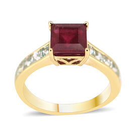 9K Y Gold African Ruby (Sqr 2.50 Ct), Natural Cambodian White Zircon Ring 3.000 Ct.
