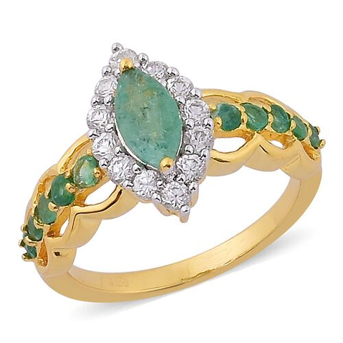 Brazilian Emerald (Mrq 0.50 Ct), White Zircon Ring in Yellow Gold Overlay Sterling Silver 1.500 Ct.
