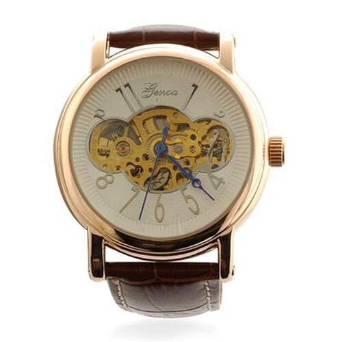 GENOA Automatic Skeleton Water Resistant Watch with Dark Brown Leather Strap in ION Plated Rose Gold with Stainless Steel