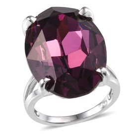J Francis Crystal from Swarovski - Amethyst Colour Crystal (Ovl) Ring in ION Plated Platinum Bond