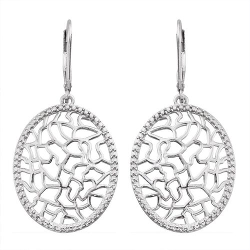 Platinum Overlay Sterling Silver Lever Back Coral Reef Design Earrings, Silver 5.16 Gms.