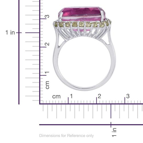 Kunzite Colour Quartz (Cush 9.75 Ct), Hebei Peridot Ring in Platinum Overlay Sterling Silver 10.750 Ct.