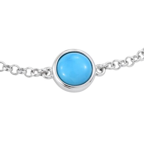 Arizona Sleeping Beauty Turquoise (Rnd) Bracelet (Size 7.5) in Platinum Overlay Sterling Silver 1.500 Ct.