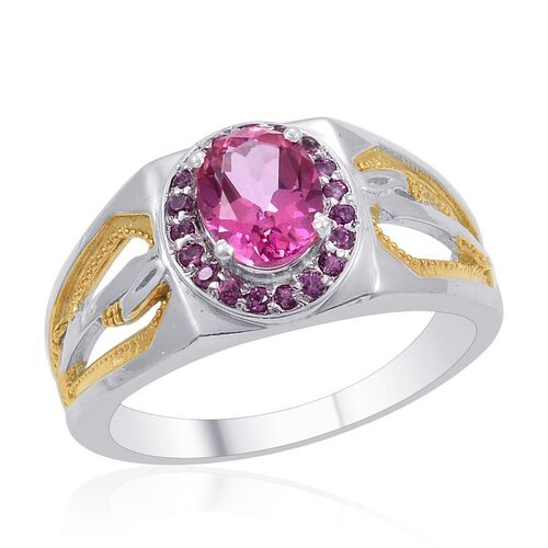 Designer Collection Mystic Pink Coated Topaz (Ovl 2.25 Ct), Rhodolite Garnet Ring in 14K YG and Platinum Overlay Sterling Silver 2.820 Ct.