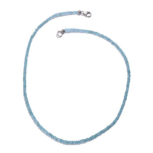 (Option 1) Paraiba Apatite (Rnd) Necklace (Size 18) in Platinum Overlay Sterling Silver 36.140 Ct.