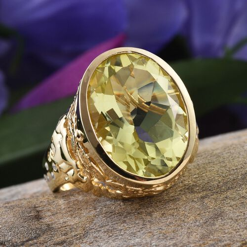 Natural Ouro Verde Quartz (Ovl 15.65 Ct), Natural Cambodian Zircon Ring in 14K Gold Overlay Sterling Silver 15.750 Ct.