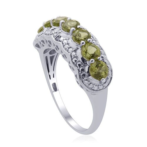 Hebei Peridot (Rnd), Diamond Ring in Platinum Overlay Sterling Silver 1.760 Ct.