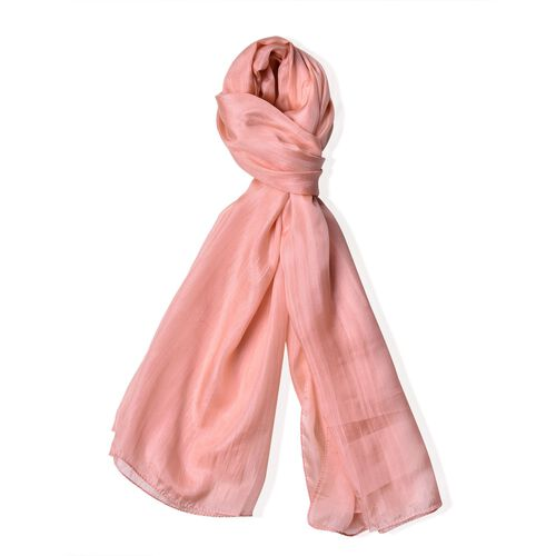 100% Mulberry Silk Coral Pink Colour Scarf (Size 180X100 Cm)