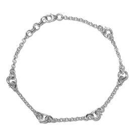 Platinum Overlay Sterling Silver Bracelet (Size 7.5 with 0.5 Extender), Silver wt 4.00 Gms.
