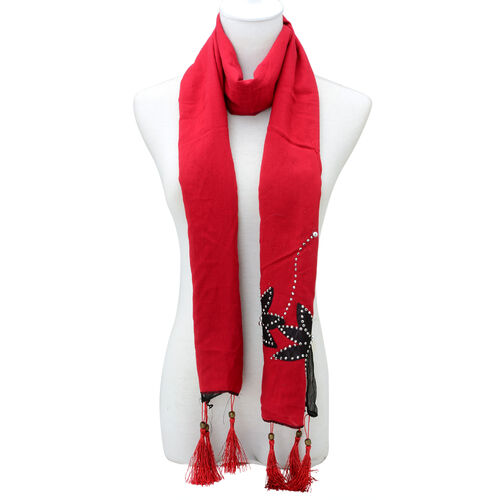 Floral Pattern Red and Black Colour Scarf (Size 180x55 Cm)