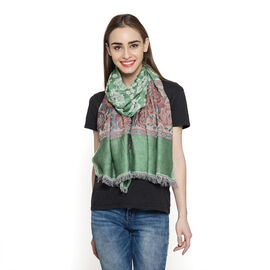 DOD - Green and Multi Colour Floral Pattern Scarf (Size 180x70 Cm)